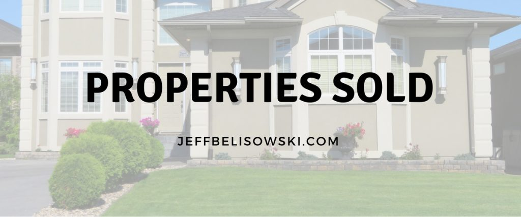 A listing of all Properties SOLD by Jeff Belisowski