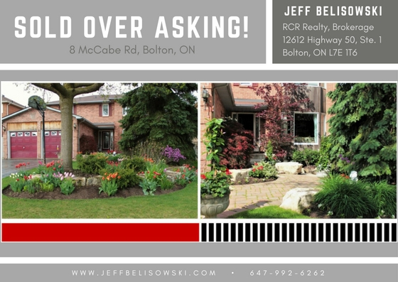 Sold Over Asking - 8 McCabe in Bolton, Ontario